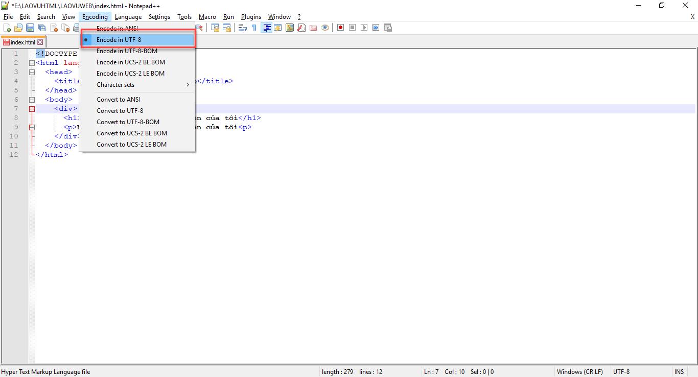 Chọn lại bảng mã cho Notepad++
