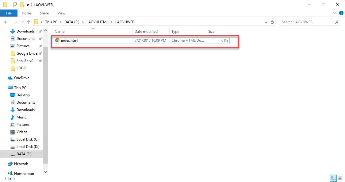 Đổi tên file thành index.html