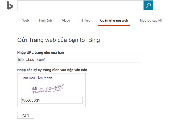 Khai báo website với Bing