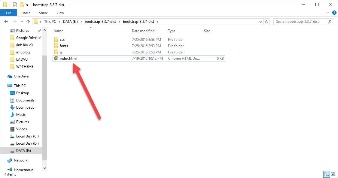 Tạo file index.html