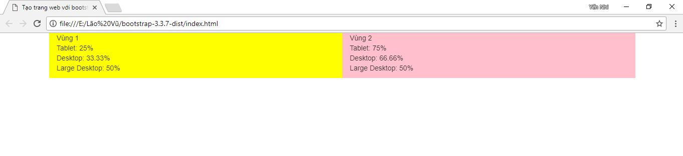 Desktop có kích thước lớn thì tỉ lệ giữa vùng và vùng 2