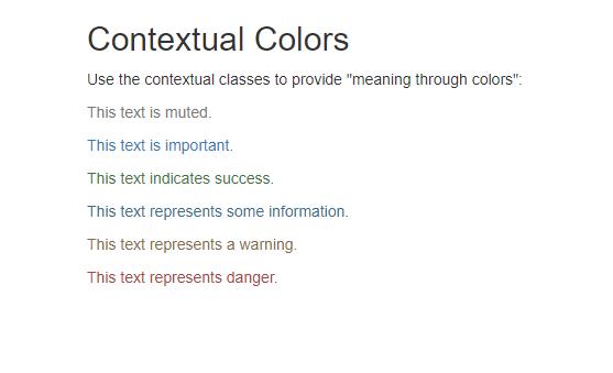 Các thẻ định dạng màu chữ trong bootstrap