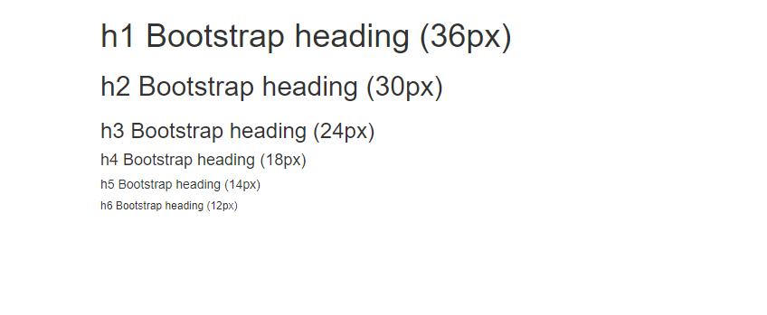 Kích thước mặc định của các thẻ tiêu đề trong bootstrap