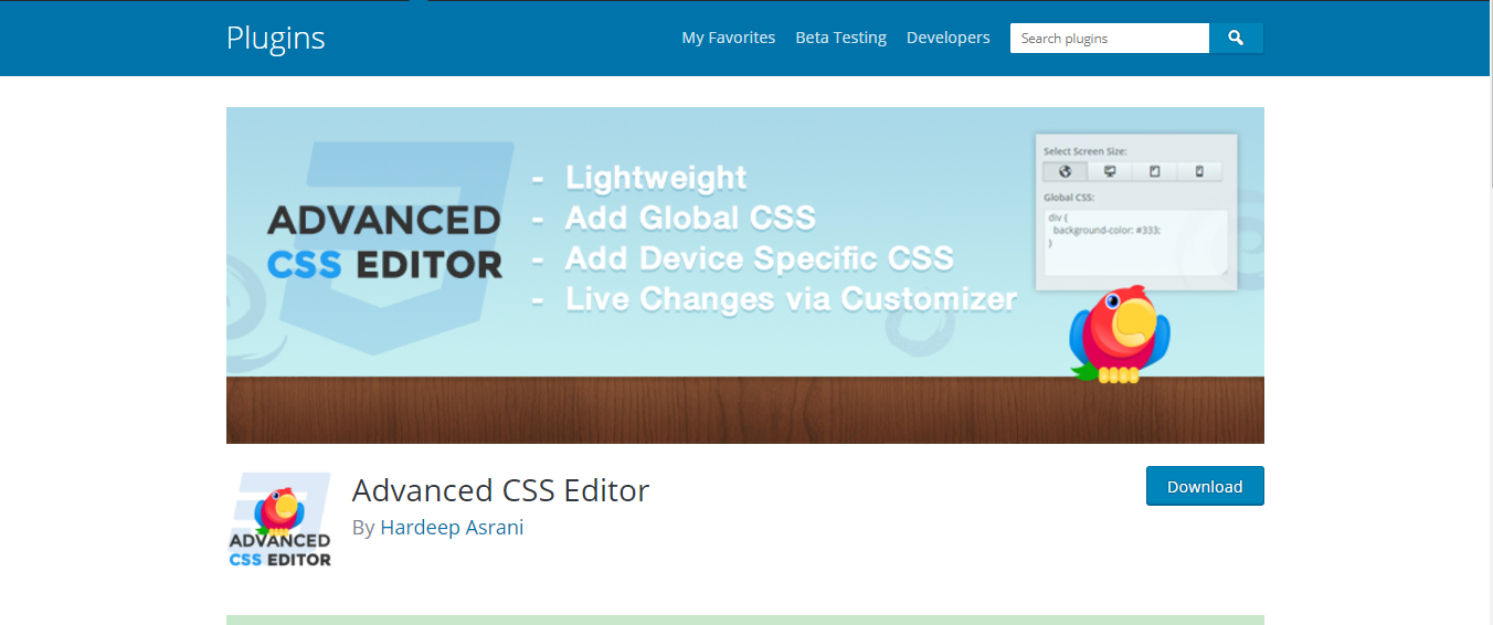 Plugin Advanced CSS Editor