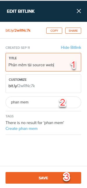 Nhập tiêu đề và tag cho link sau đó nhấn save