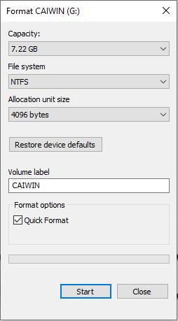 Format USB về định dạng NTFS