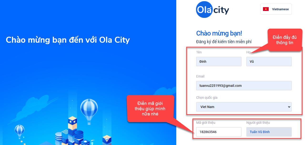 Hướng dẫn đăng ký ola city
